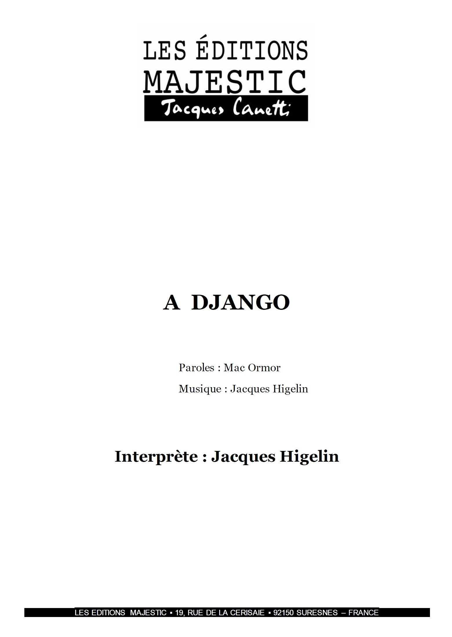 A Django - Jacques Higelin - Productions Jacques Canetti