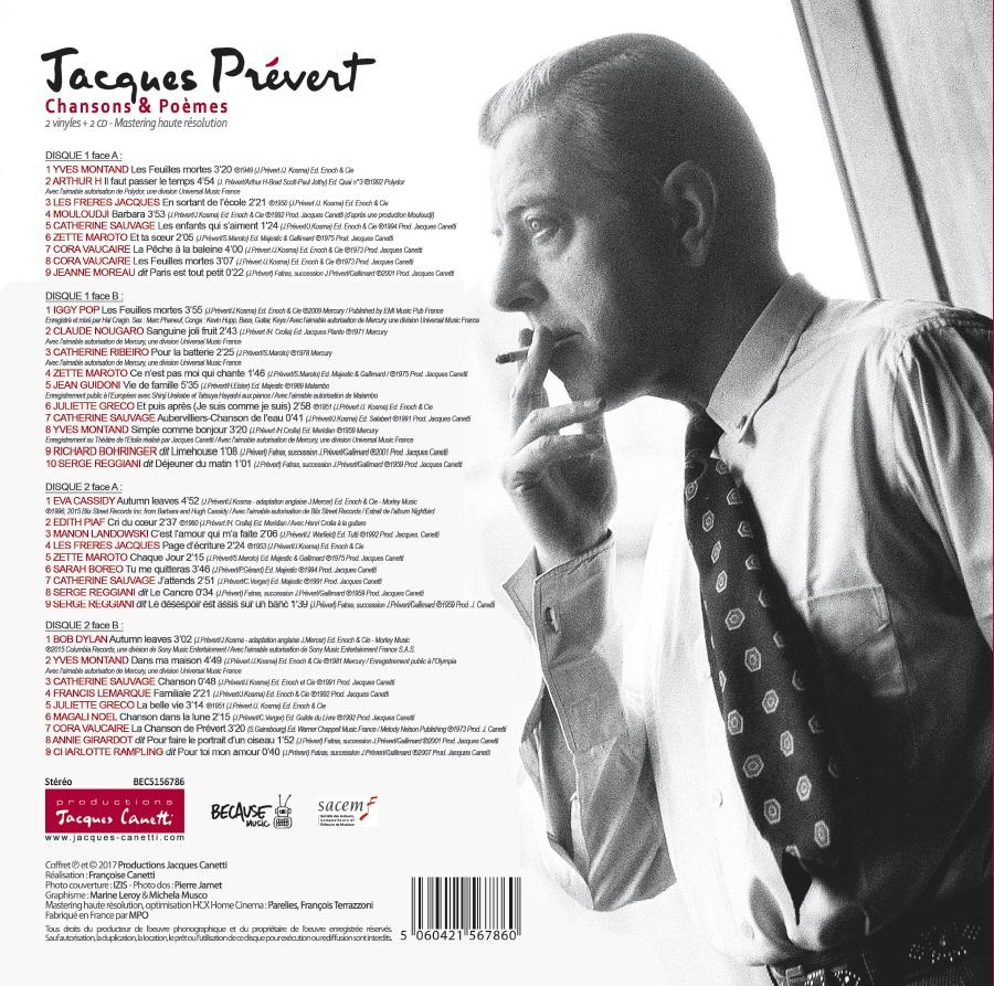 VISUEL DOS VINYLE Jacques Prévert - Chansons et Poèmes